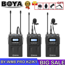BOYA BY-WM8 Pro K1/K2 Mic Wireless Lavalier Microphone System for Video Interview Broadcast Canon Nikon DSLR Camera Camcorder цена в Москве и Питере