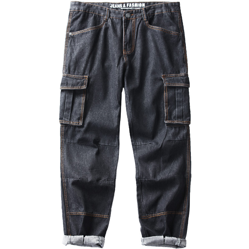 Idopy Men`s Cargo Jeans Hip Hop Street Style Loose Fit Multi Pockets Plus Size Denim Pants Trousers For Hipster 29-42
