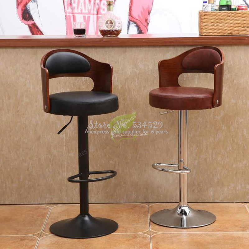 38%Stool Bar Tabouret De Bar Iron Bar Chair Bar Furniture Make Up Chair Beauty Salon Furniture Solid Wood European Style Retro