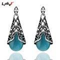 LEEKER Female Vintage Black Blue Pink White Opal Drop Earrings Antique Silver Color Women Wedding Party Jewelry 572 LK2