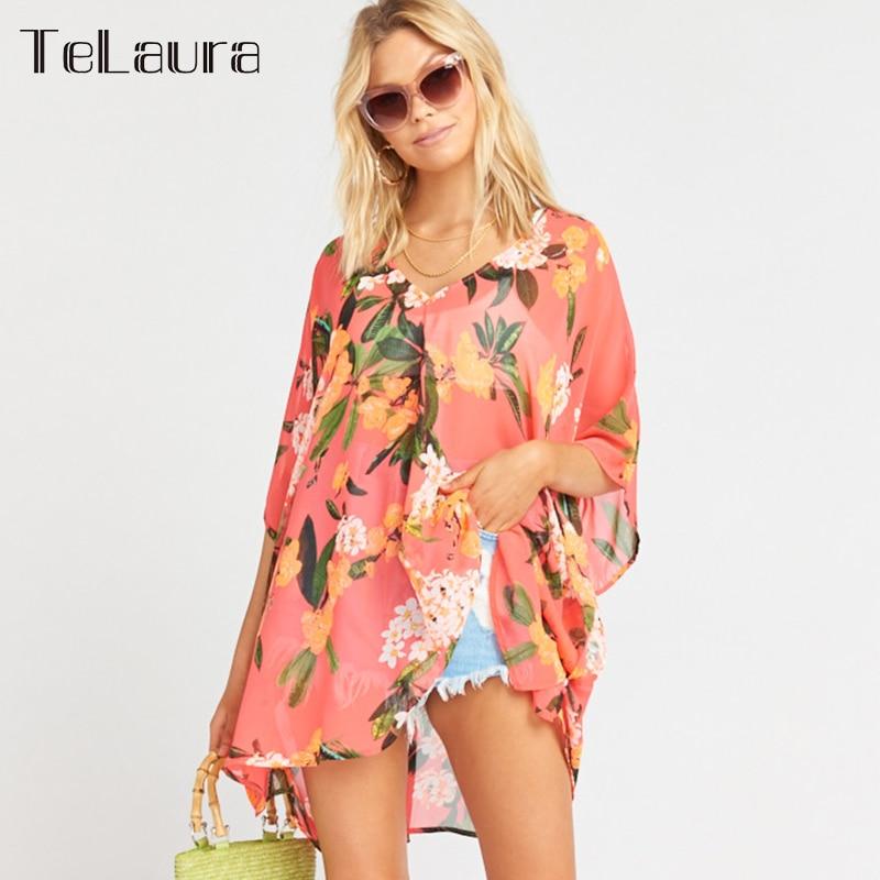 Swimsuit Beach-Dress Bikini Cover-Up Printed Women Summer New Floral