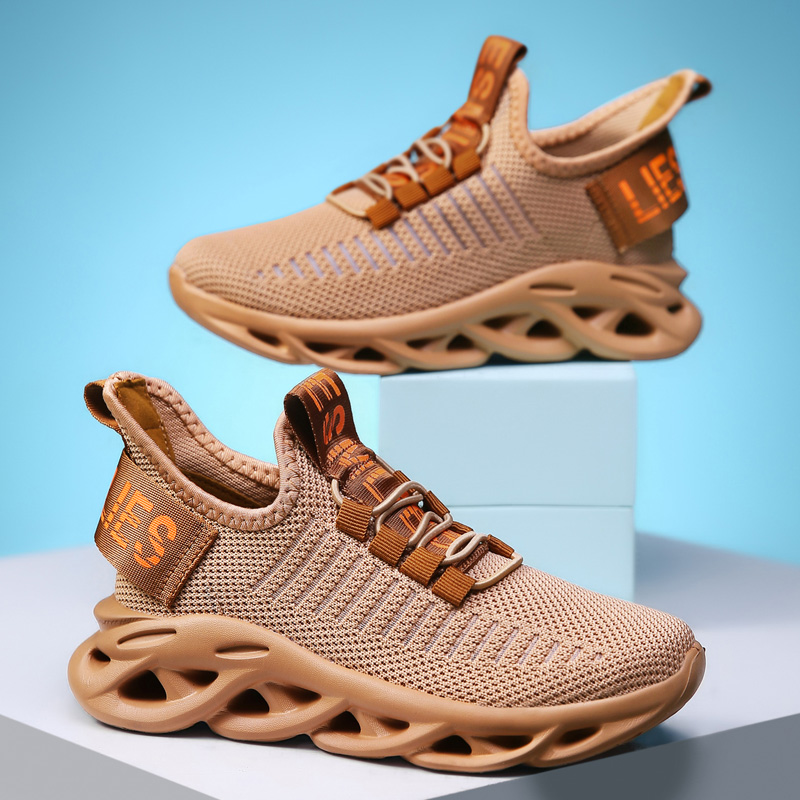 Kids Sneakers Breathable Mesh Children Shoes Cutout Single Net Child Shoes Flying Woven Boys Sport Shoes Girls Trainer Wavy Sole
