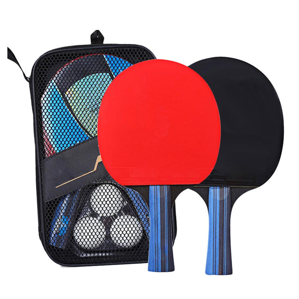 A Pair Professional Table Tennis Ping Pong Racket Paddle Bat+3pcs Balls Bag Set Lightweight Powerful Long Short Handle Home Fun