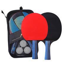A Pair Professional Table Tennis Ping Pong Racket Paddle Bat+3pcs Balls Bag Set Lightweight Powerful Long Short Handle Home Fun