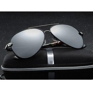 Image 2 - 2020 جديد رجل الاستقطاب النظارات الشمسية الفضة إطار معدني UV400 عدسات عاكسة النظارات مع صندوق الحجم: 62 51 136mm