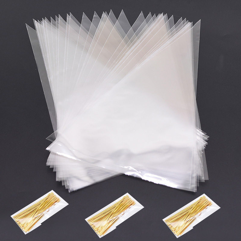 50Pcs 3 Sizes Transparent Cellophane Cone Bags Gold Twist Ties Seal Pouches Clear Plastic Gift Bags For Candy Cookies Storage