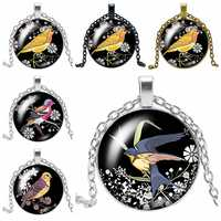 2019 New Trend Color Woodpecker Glass Convex Round Pendant Necklace Youth Accessories Handmade Necklace Pendant