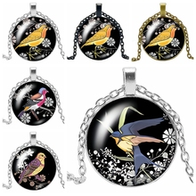 2019 New Trend Color Woodpecker Glass Convex Round Pendant Necklace Youth Accessories Handmade