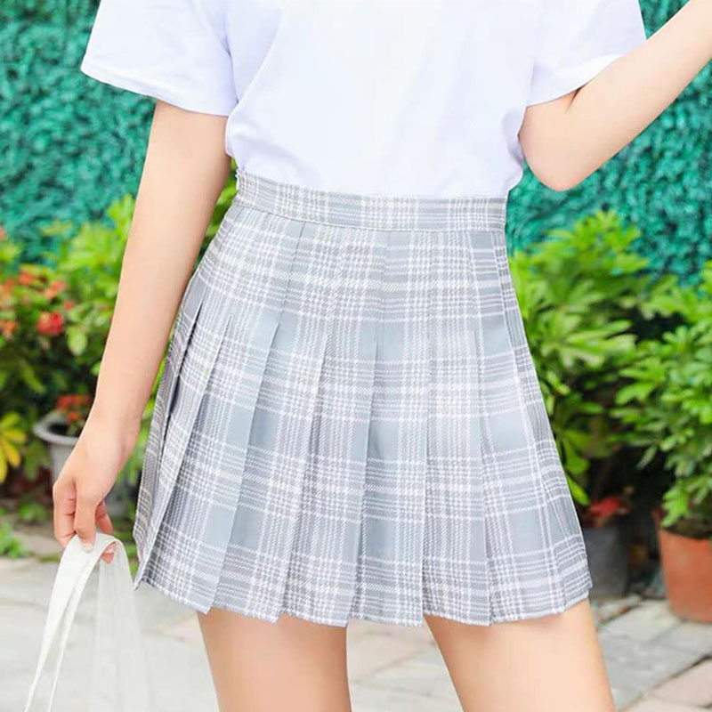 Girls Short Pleated Plaid Korean Slim Fit High Waist Preppy Style Empire Skirts Women Fashion Mini A-line Skirt