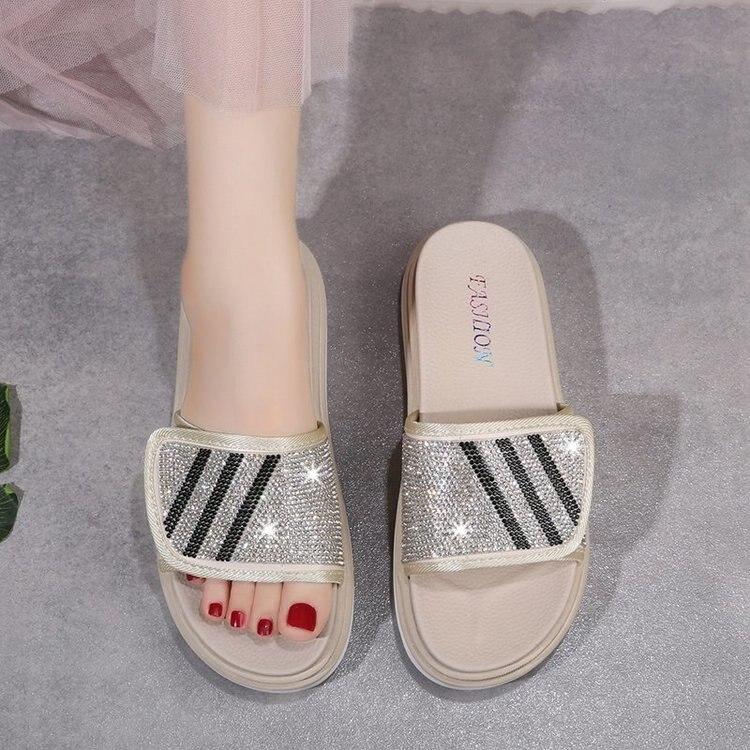 Women Sandals Platform Sandals Shoes 2020 Summer Sandals Slipper Indoor Outdoor Flip-flops Beach Shoes crystal Female Slippers