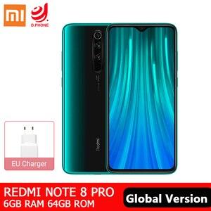 Глобальная версия смартфона Xiaomi Redmi Note 8 Pro 6 Гб 64 Гб 64-мегапиксельная четырехъядерная камера MTK Helio G90T Восьмиядерный 4500 мАч NFC мобильный телефо...
