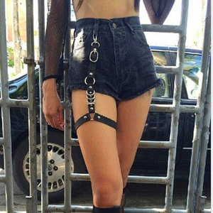 2020 Street Punk Rock Handcrafted Leather Garters Belt Waist Chain Thigh High Suspenders Straps for Shorts Jeans Body Jewelry