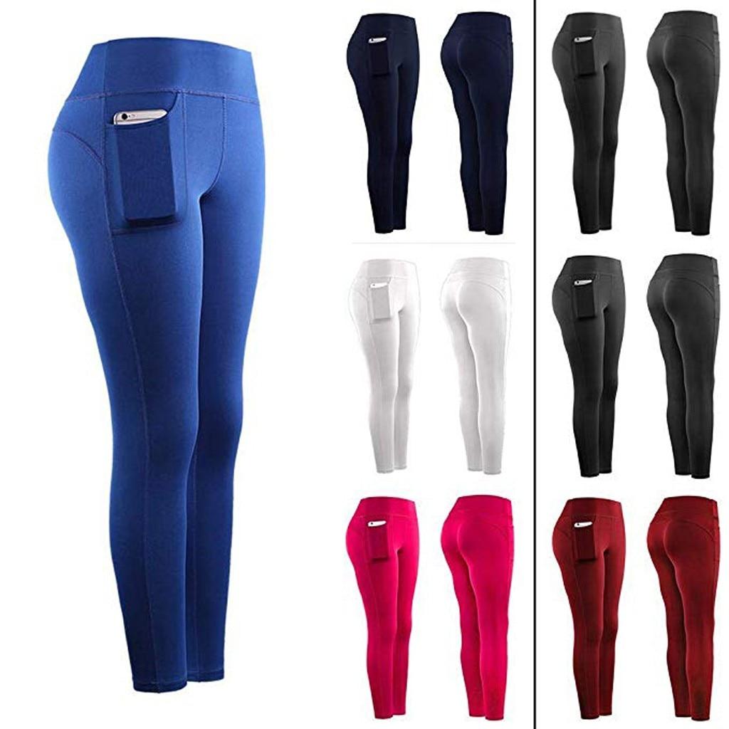 Solid Women Fitness Leggings Skinny Elastic Running Gym Sports Jeggings Pockets Active Pants Anti Cellulite Leggins Trousers