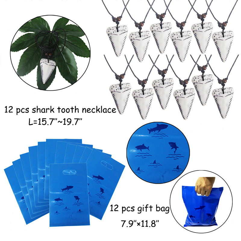 Image 3 - 66pcs shark birthday party favors for kids Gift bags Shark  bracelets Badge Teeth Necklace Stickers Under The Sea Party  SuppliesParty Favors