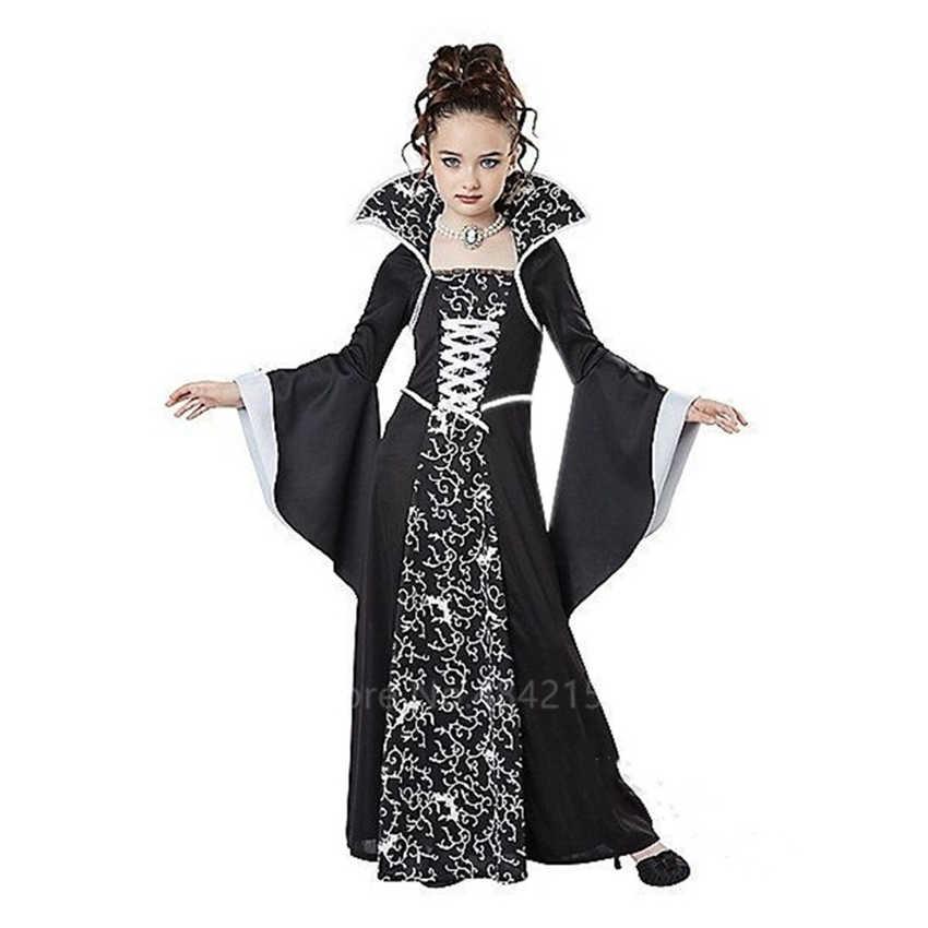 Halloween Kostuums Voor Kinderen Meisjes Middeleeuwse Cosplay Vintage Hof Prinses Heks Middeleeuwen Carnaval Party Lange Mouw Jurk
