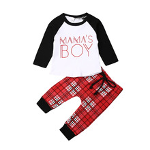 цена на Newborn Baby Boy Clothes Cotton Mama's Boy Tops + Plaid Pants Infant Baby Boys Spring Autumn Clothing Set Toddler 3Pcs Outfits