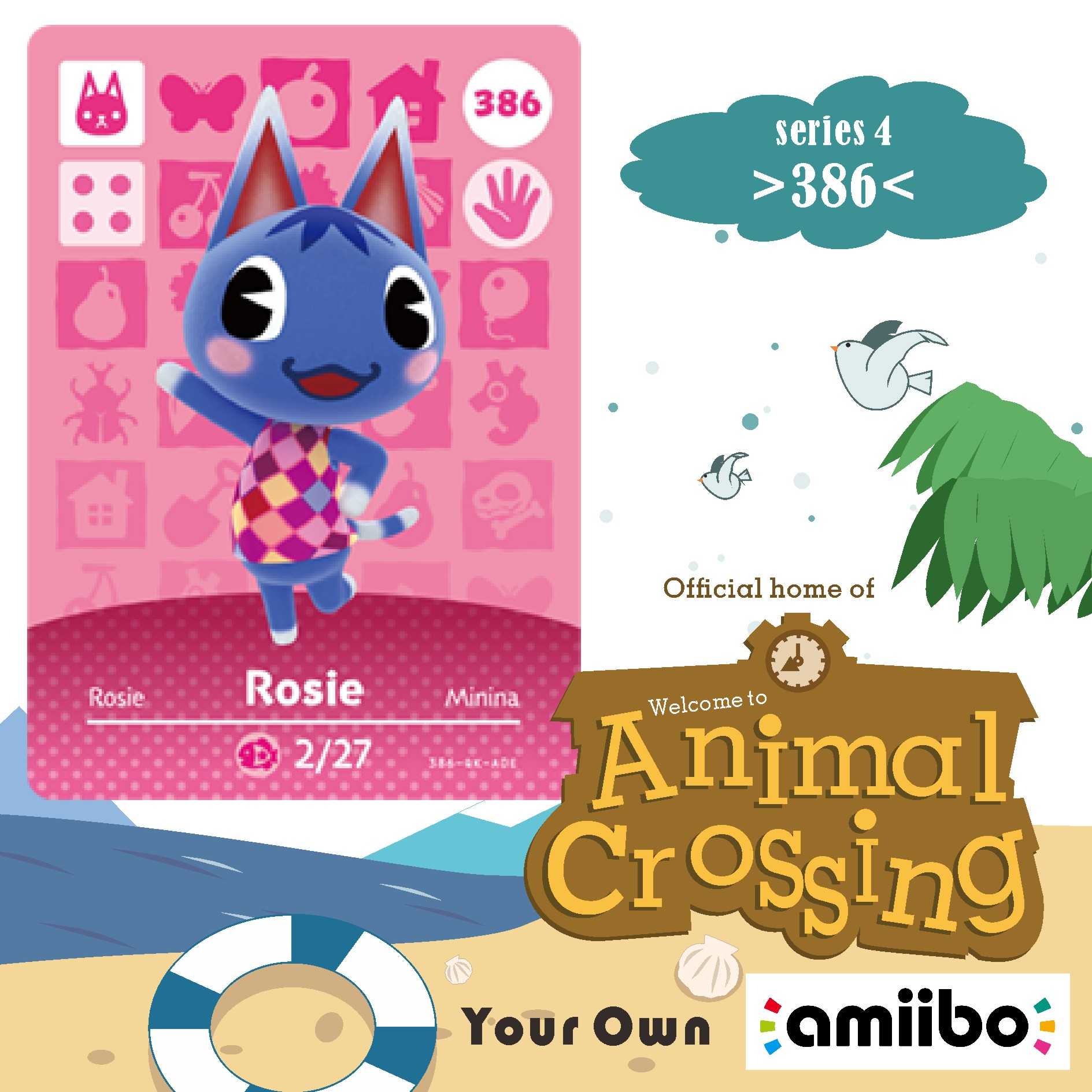 386 Amiibo Card Rosie Amiibo Cards Animal Crossing Rosie Animal Crossing Season Amiibo Cross Card Series 1 Villager 386