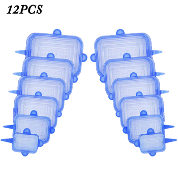 12pcs Reusable Silicone Food Cover Elastic Stretch Adjustable Bowl Lids Universal Kitchen Wrap Seal Fresh Keeping Silicone Caps - RTG Blue 12pcs
