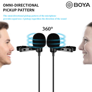 "Image 2 - BOYA BY M1DM 4m Dual Head Lavalier Lapel Clip on Microphone with 1/8"" Stereo Connector for DSLR Camera IOS Device live Interview"