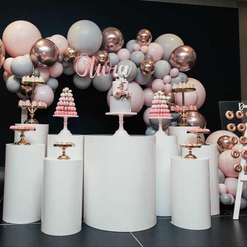 Macaron บอลลูน Arch ชุดสีเทา Pastel ลูกโป่งสีชมพู Garland Rose Gold Confetti Globos งานแต่งงานห้องอาบน้ำฝักบัวเด็กอุปกรณ์