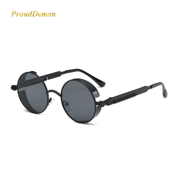 Steampunk okrągła metalowa ramka okulary mężczyźni kobiety 2020 Retro Vintage koło markowe okulary przeciwsłoneczne projektant UV400