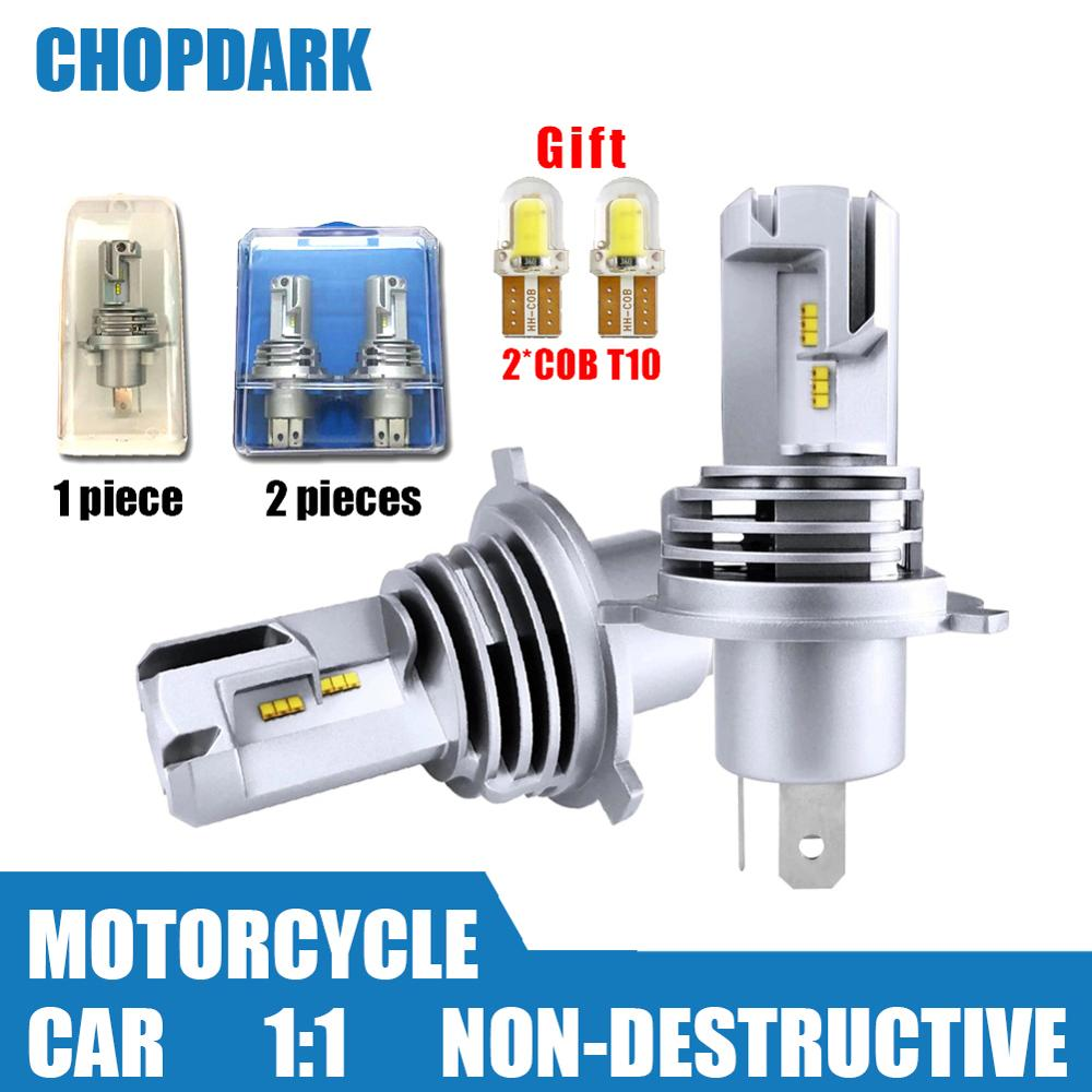 H4 HB2 9003 Car Motorcycle LED Headlight Bulbs M3 Mini High Low Hi Lo Beam ZES Chips 50W 10000LM 6000K Wireless Direct Plug-in