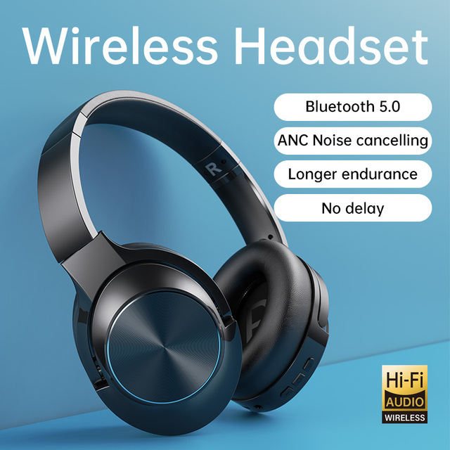 ANC Noise Cancelling Headphones Bluetooth Wireless Gamming Headset Gamer PC 3.5mm Wired PS4 Earphone Deep Bass for Laptop Tablet 1