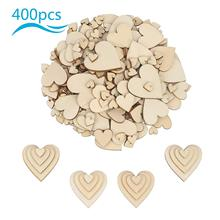 METABLE 400 Pcs Mini Wood Heart Embellishments Blank Mixed Slices Table Confetti Rustic Scatter for Wedding Party