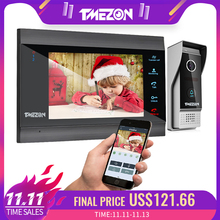 Tmeزون المنزل نظام اتصال داخلي لاسلكي واي فاي الذكية IP جرس باب يتضمن شاشة عرض فيديو 7 بوصة مع 1x1200TVL السلكية باب الهاتف كاميرا