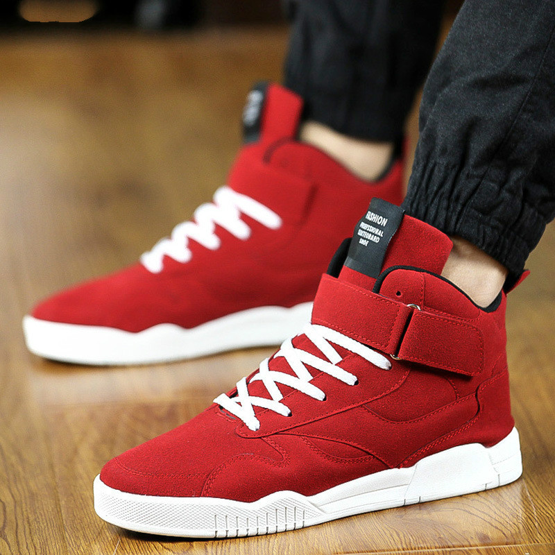 New Spring Men Shoes Trainers Leather Fashion Casual High Top Sport Walking Lace Up Ankle Boots For Men Red Zapatillas Hombre665