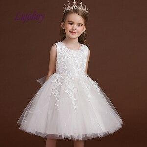 Białe koronkowe kwiatowe sukienki na ślub na imprezę bal Flowergirl Kids suknie na konkurs piękności dla dziewczynek sukienki pierwszej komunii