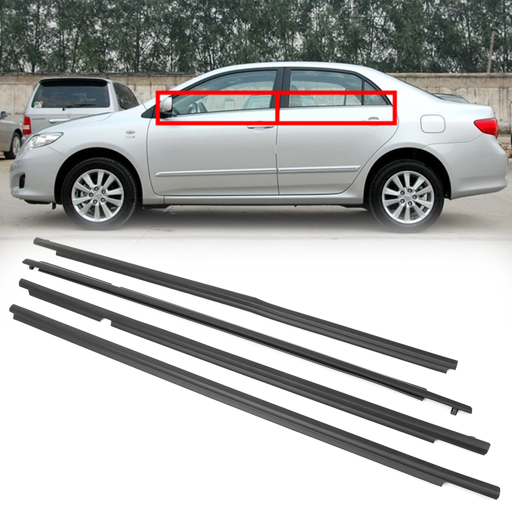 Rain-Deflector-Set Molding Door-Belt Corolla Weatherstrip Window-Trim Car 4pcs for Toyota title=
