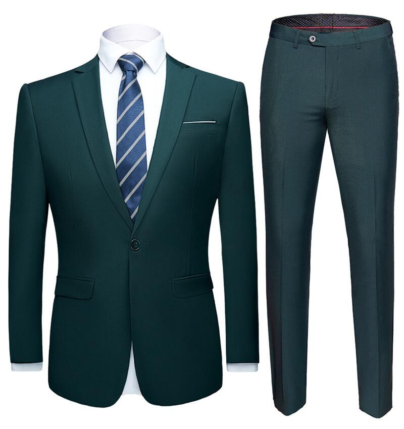 2019 Latest Men's Suit Set Dark Green Formal Suit Jacket Pants Slim Business Tuxedo 2 Piece Suit Terno Wedding Men's Suit S-6XL