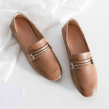 WETKISS Leather Flats Women Square Toe Footwear Fashion Casual Female Loafers Soft Sole Shoes Woman Mules Autumn 2020 Plus Size