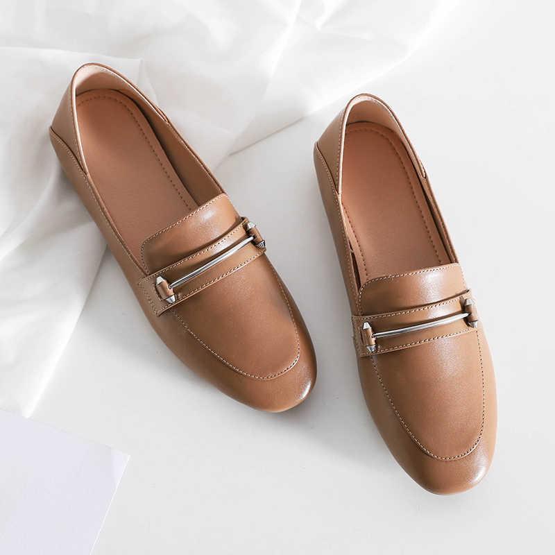 WETKISS deri daireler kadın kare ayak ayakkabı moda rahat kadın mokasen yumuşak taban ayakkabı mokasen kadın katır bahar 2020