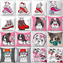 Hot sale beauty cute cartoon animal dogs  pattern pillow cases square home creative color cover 45*45cm