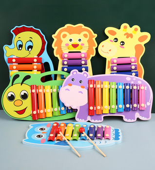 2020 Children's Wooden Musical Instrument Toy Aniaml Xylophone Eight-Notes Frame Style for Kids Early Development Education Toys 15 notes wooden xylophone musical instrument toy early learning educational toys birthday gift for children kids