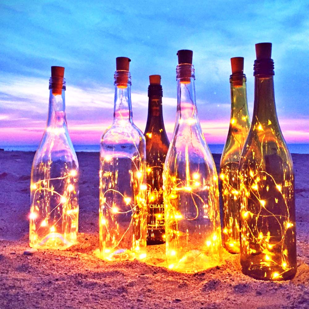 5 Pack 1M 2M Strings Light Wine Bottle Lights With White Cork Lights Battery Operated Fairy For Wedding Party Wine  Christmas