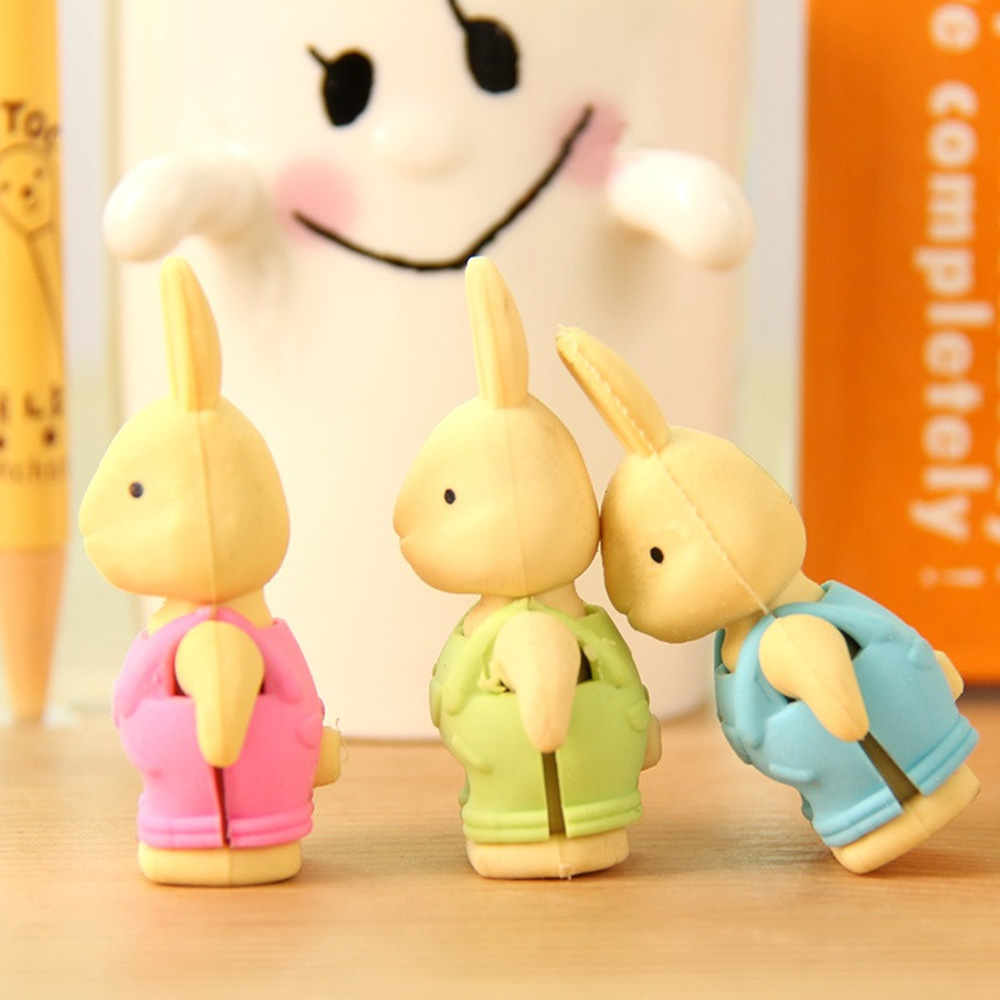 1 PC. New Kawaii Cartoon Bunnies Eraser Curly Eraser Stationery Office Supplies Kids Gift Toy Cute Pupils School Office Supplies