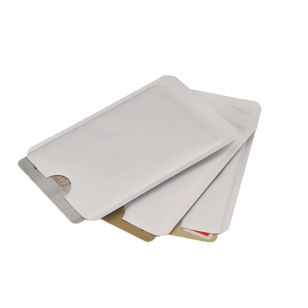 Güvenlik ve Koruma'ten Kişisel Savunma Malzemeleri'de 300 adet Gümüş Anti Tarama RFID Kol Koruyucu Kredi KIMLIK Kartı Alüminyum Folyo Tutucu Anti tarama Kartı Kollu Güvenlik koruma Kitleri title=