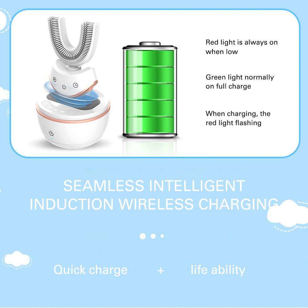 AZDENT USB Rechargeable U Type Silica Gel Electric Toothbrush Ultraviolet Sterilization Inductive Rechargeable Travel Portable