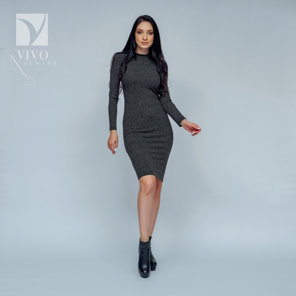Dresses Vivostyle 2s050 for women for females clothing women's dress Viscose Dark Grey Casual grey sexy cold shoulder bodycon mini dress