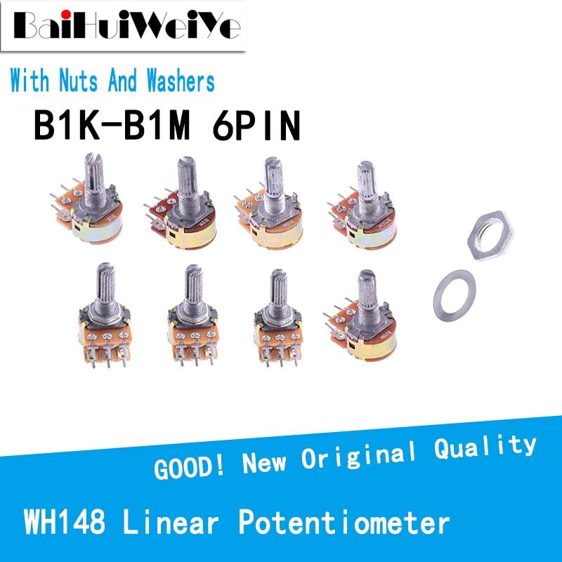 5 шт./лот WH148 Линейный потенциометр 15 мм вал с гайками шайбы двойная линия 6Pin WH148 B1K B2K B5K B10K B20K B50K B100K B250K