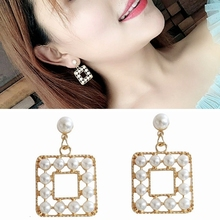 Temperament Trendy Womens Earrings 2020 Elegance Gold Color Geometry Square Imitation Pearls Korea Fashion Jewelry