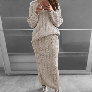 2020 Winter Women Knitted 2 Pieces Set Women Solid Color Long Sleeve Pullovers Sweater & Knitted Skirts 2PCS Suits Warm Sets