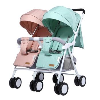 цена Twin baby stroller lightweight two-seater size treasure two-child artifact can sit and lie double shock-absorbing folding cart онлайн в 2017 году