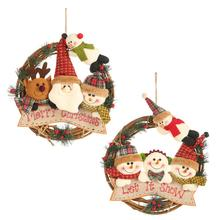 Christmas Rattan Circle Santa Claus Snowman Elk Pendant Wreath Ornament Decorations
