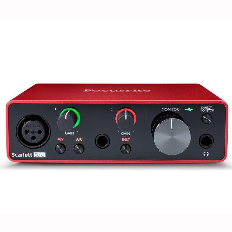 Nova versão focusrite scarlett solo 3rd gen 2 entrada 2 saída interface de áudio usb placa de som para gravação microfone guitarra