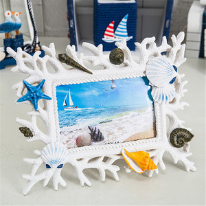 Coral Shell Photo Frame 6 Inch Resin Creative Wedding Photo Frame Decoration Ocean Romance Mediterranean style Home Crafts Gift
