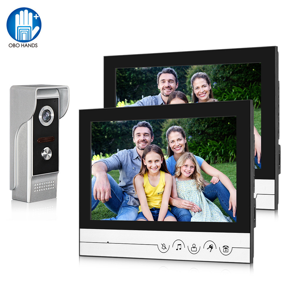 9inch Wired Video Intercom System Video Doorbell Doorphone Monitor+700TVL Outdoor Camera IR Night Vision 100 Meter Two-way Audio